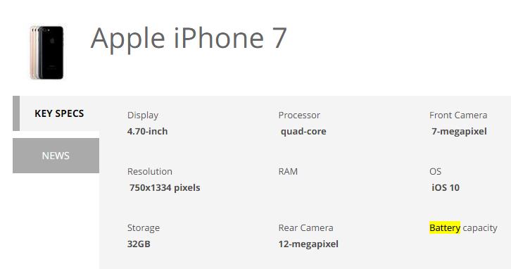Apple iPhone 7 Specs